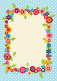 Design with polkadots and flowers to use as a frame, greeting ca