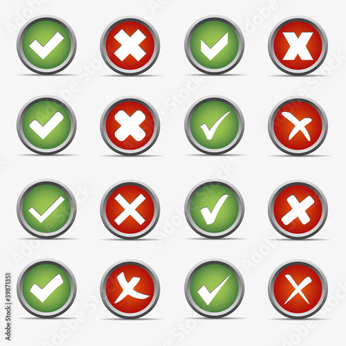 ja nein yes no rot grün kreis kugel rund button haken ok kreuz