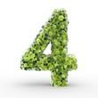 Texteffekt Moleküle grün Zahl 4