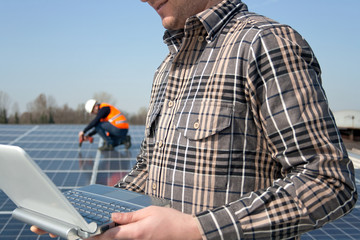 workteam on a photovoltaic plant