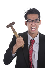 Businessman with hammer