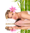 Beautiful blond girl relaxing, concept of spa