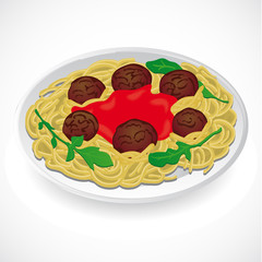 Spaghetti and meatballs with on a plate. Vector