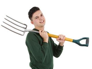 Gardener with fork
