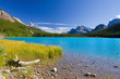 Lake with turquoise blue water, Mountains and Clear Sky, Canada