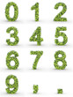 Texteffekt Moleküle grün Zahlen 0-9