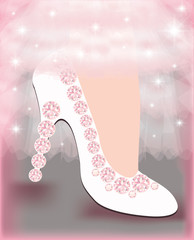 Wedding shoes for the bride , vector illustration