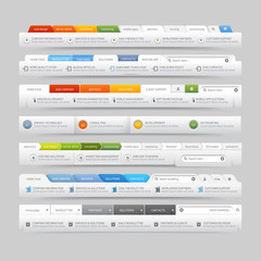 web site design template navigation elements with icons set