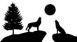 Silhouette Heulende Wölfe Landschaft Tiere Wald