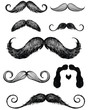 Hand drawn mustache set - 39880533