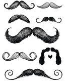 Hand drawn mustache set