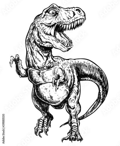 Tyrannosaurus Dinosaur Vector Linework Illustration - 39880530