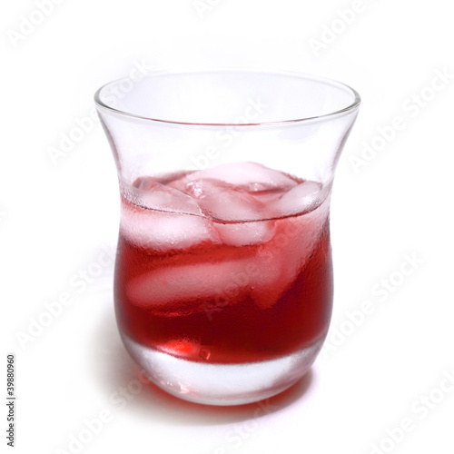 Cranberry drink on ice