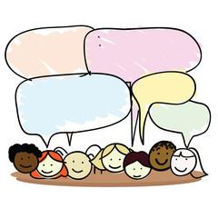 cartoon kids speech bubble