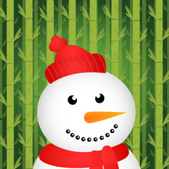 Snowman with bamboo background