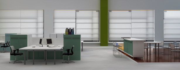 Interior office with system office desks