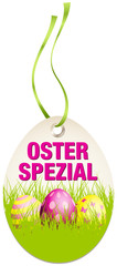 Hangtag Osterspezial Ostereier grün/pink
