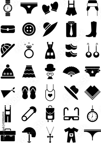 Clothing and accessories icons