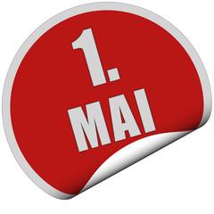 Sticker rot rund curl unten 1. MAI