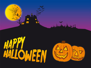 Happy halloween card with house and pumpkins