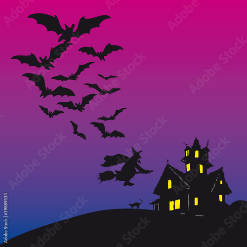 Halloween - Scary house with witch