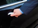 Fototapety Chauffeur's hand opening passenger door