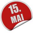 Sticker rot rund curl unten 15. MAI
