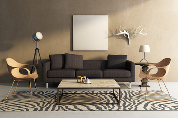 Safari theme interior living room, animal print carpet