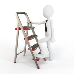 3d man climbing a small ladder