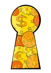 Vista keyhole on the coin