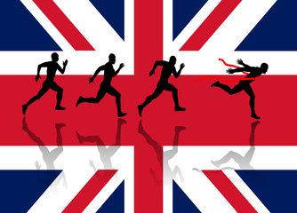 Sprinters Silhouette on the Union Flag background. vector file