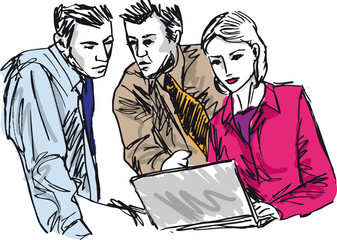 Sketch of successful business people working with laptop at offi
