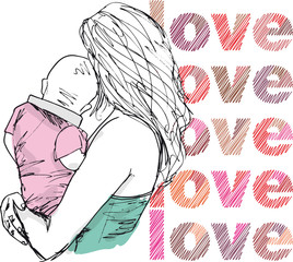 Sketch of mom and baby, vector illustration