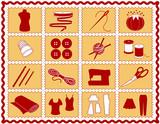Sew, Tailor, Knit, Crochet, Craft, DIY Icons. Rickrack frame. poster