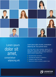 Blue template for advertising with business people
