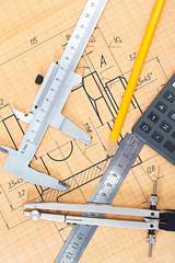 Mechanical circuit, a ruler, compass, calipers.