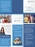 Fototapety Blue template for advertising brochure with business people