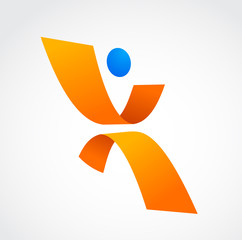 abstract human icon, orange and blue colors