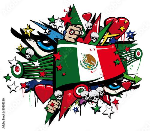 """Graffiti bandera pop arte Mexico ilustración día de Muertos"""" Fotos ..."""