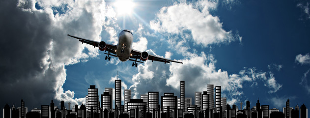 Passenger jet set against cityscape illustration