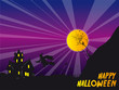 Happy halloween card with house and full moon