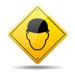 Señal amarilla simbolo casco de seguridad