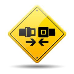 Señal amarilla simbolo cinturon de seguridad