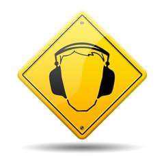 Señal amarilla simbolo proteccion oidos