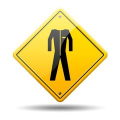 Señal amarilla simbolo ropa de trabajo