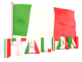 Italian flag. 3D model isolated on white background