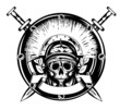 skull in helmet and crossed sword