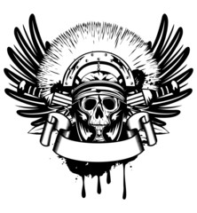 Vector image skull in helmet  and crossed sword