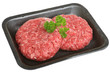 Raw Beef Burgers in Packaging Tray