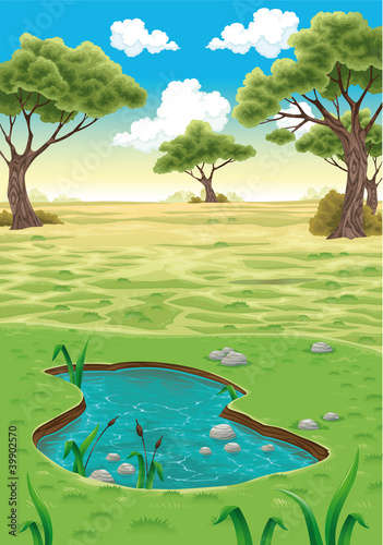 Natural landscape. Vector realistic illustration.